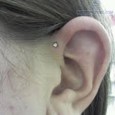 diamond helix stud anti helix piercing with small diamond stud