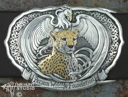 gold inlay engraving custom engraved silver buckle w gold wildlife ii