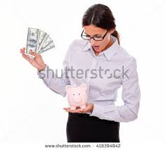 his and hers piggy bank student loan concept stack stock photo 526221952