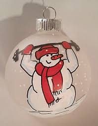 snowman ornament lifting weights fitness fitness ornament