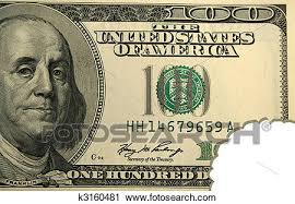 stock photography of hundred dollar bill with bite k3160481