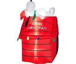 Christmas Outdoor Decorations Peanuts by New Gemmy Peanuts Christmas 5 U0027 Snoopy Laying On Doghouse Airblown