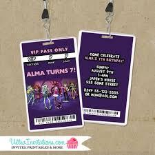 monster high vip pass invitations backtstage pass invites
