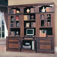 Computer Desk And Bookcase Combination Furniture Antique Brown Wooden Book Cabinet Using Glass Door With