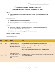 5th grade social studies review study guide