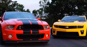 camaro and mustang ford mustang shelby gt500 vs chevrolet camaro zl1 shoot out