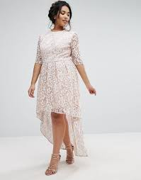 chi chi london plus allover lace dress with dip hem mink women