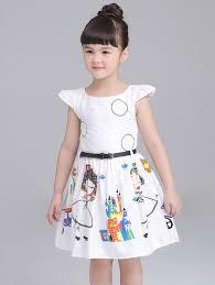 short sleeve dresses white 90 cartoon print cap sleeve knee