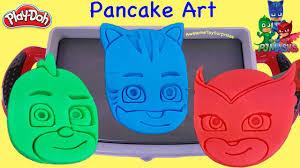 pj masks playdoh pancake art pretend play gekko catboy owlette