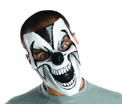 comedy scary clown mask plastic half black white mime