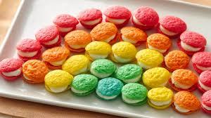 mini rainbow whoopie pies recipe bettycrocker