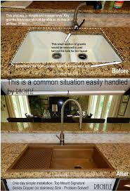 drop in top mount custom copper sinks made in the usa replacing discontinued sink before and after photo