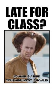 Classroom Memes - late for class my hair is a bird your argument is invalid i can