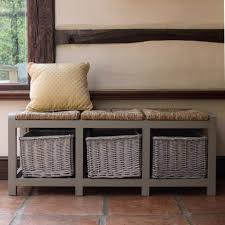 tetbury white bench with storage baskets hallway hanging shelf