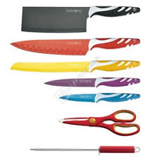coloured kitchen knives royalty line 7 multi colour knife set and stand espares