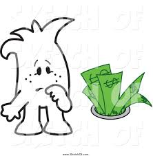 drawing of a sketched squiggle guy watching money going down the