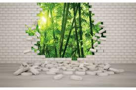 brick wall with view of bamboo forest wallpapers brick wall with view of bamboo forest