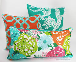 Lilly Pulitzer Furniture by Lilly Pulitzer Well Connected Aqua Orange Pillow