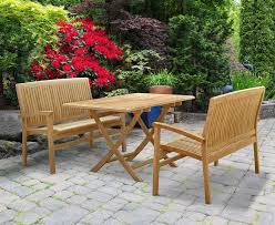 Bench And Table Set Cyan Teak Garden Furniture And Rattan Outdoor Furniture