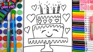 learn to color kids and color cute birthday cake and heart