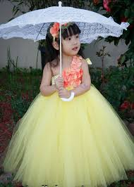 yellow color kids indian prom ball gown party dress size 2 8