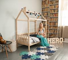 Child Bed Frame Wood Bed Crib Size Child Bed Toddler Bed Children Bed