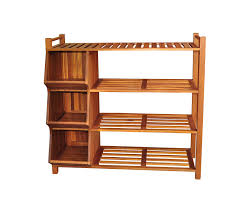 brown stained wooden shoe organizer with cubicle and rack style