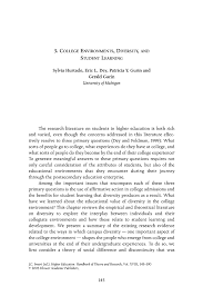 college environments diversity and student learning springer