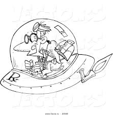vector of a cartoon space doctor coloring page outline by