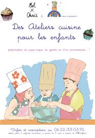 affiche atelier cuisine des ateliers cuisine chez mel x chris à andernos les doigts dans