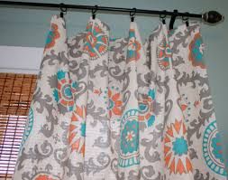 Coral And Turquoise Curtains Premier Prints Mandarin Curtain Panel Custom By Stitchandbrush