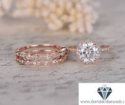 7mm round cut moissanite engagement ring set double art deco
