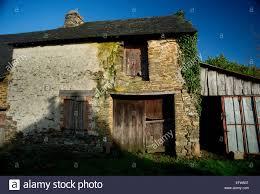 ancient stone wall farmhouses brittany farmhouse stones shadow