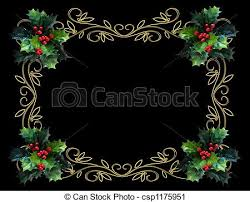 clipart of christmas holly border bl image and illustration