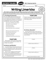 writing limericks 6th 10th grade worksheet lesson planet