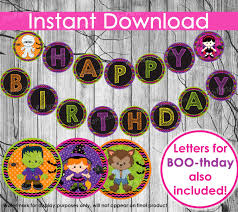 Happy Halloween Banners by Halloween Birthday Banner Instant Download Happy Birthday Or