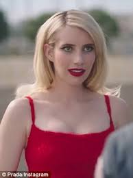 car commercial girl short blond hair emma roberts vs it up in red dress for prada commercial daily