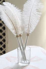 guest book pen 2pcs pack white ostrich feather guest book pen for wedding 14 16