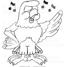 clip art of a coloring page bald eagle hawk or falcon singing by
