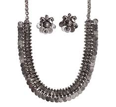 silver necklace set images Buy ballerina 39 s oxidized silver necklace earring set for women jpg