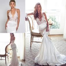 v neck wedding dresses 2017 lurelly lace appliqued wedding dresses mermaid v neck