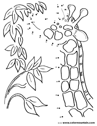 giraffe dot to dot coloring sheet create a printout or activity