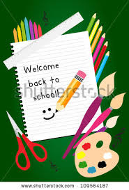 welcome back school greeting card colorful stock vector 109564187