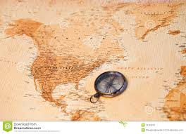 World Map North America by World Map With Compass Showing North America Stock Photo Image