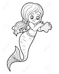 Livre à Colorier Pour Les Enfants petite Fille De Sirène Mignonne
