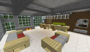 detail modern living room with couches bar and fireplace minecraft