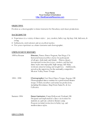 Resume Teacher Examples Dance Teacher Resume Berathen Com