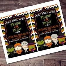 trunk or treat neighborhood ward party halloween invitation