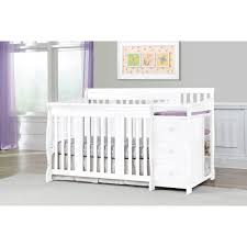 Mini Crib With Attached Changing Table Nursery Decors Furnitures Tufted Baby Crib With Convertible