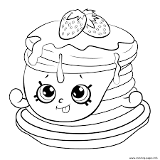 pancakes with strawberries coloring page stock illustration with